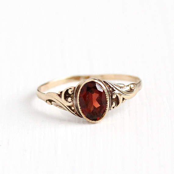 Vintage 10k Yellow Gold Garnet Ring Antique 1910s 1920s Size 4 1 4 Art Deco Red Gemstone Pyrope Almandine Garnet Fine Dainty Jewelry In 2020 Antique Garnet Ring Antique Jewelry Garnet Ring Yellow Gold