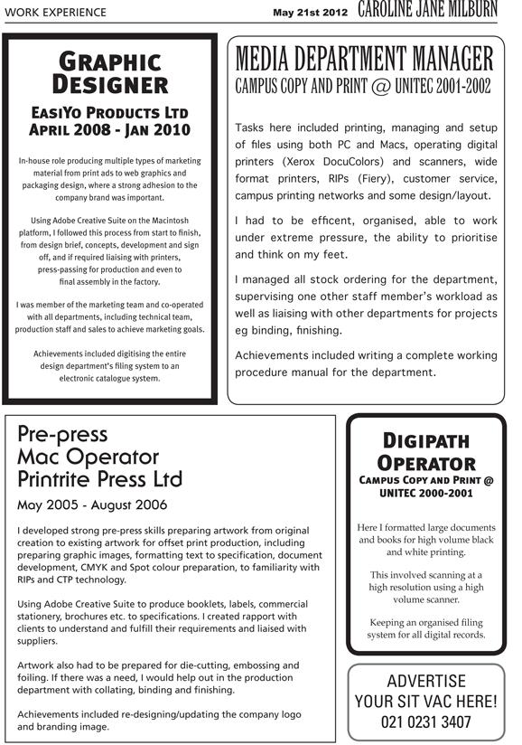 Creative Cv Newspaper Advert Style Work Experience Cv
