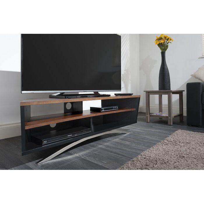Das TV Rack Prisma Von Techlink Besitzt Einen Mattschwarzen Korpus, Eine  Tischplatte In Eichenfurnier