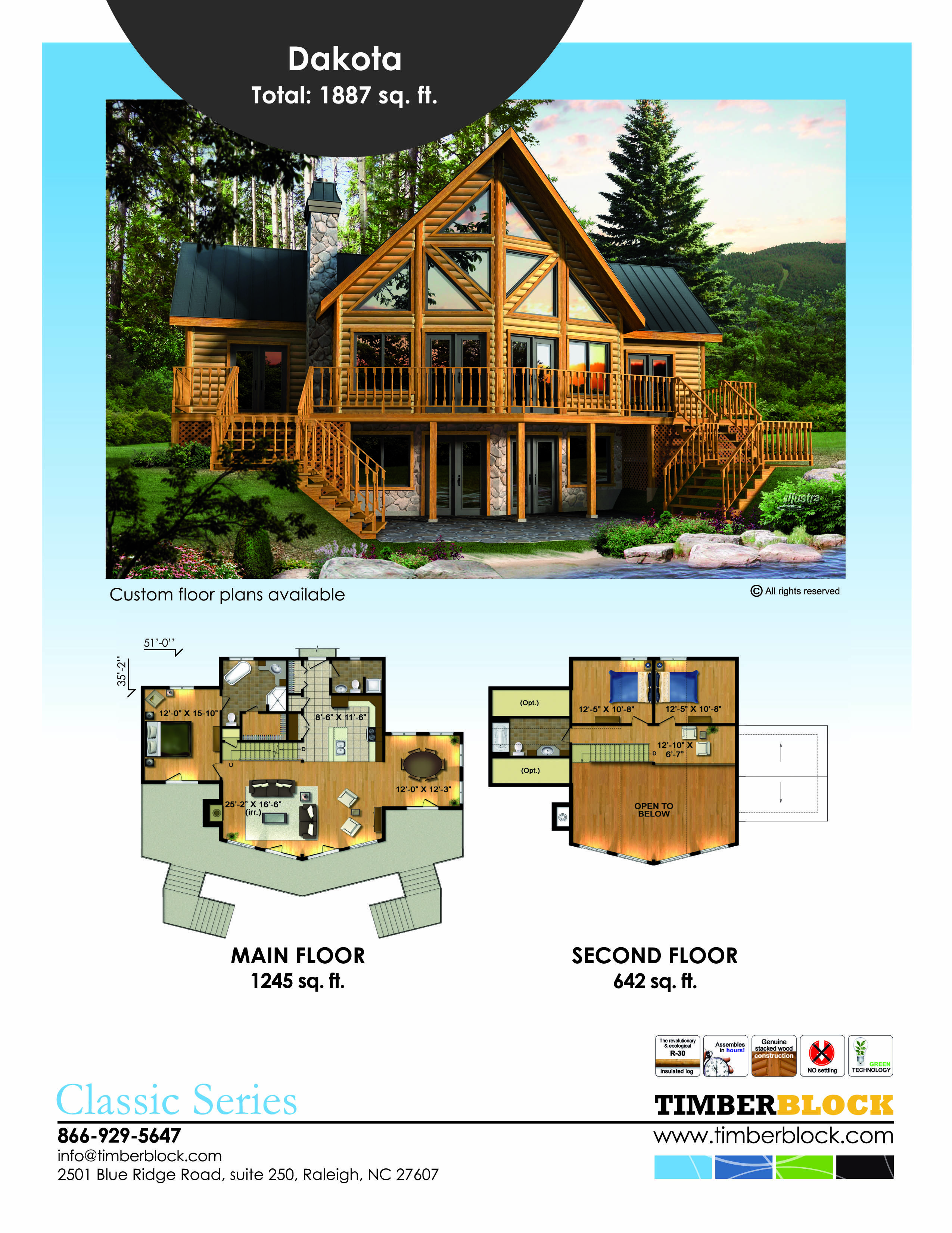 The Dakota Model In Timber Block S Classic Series Is A Favorite Here S The Floor Plan And Of Cou House Plan With Loft Log Cabin Floor Plans Lake House Plans