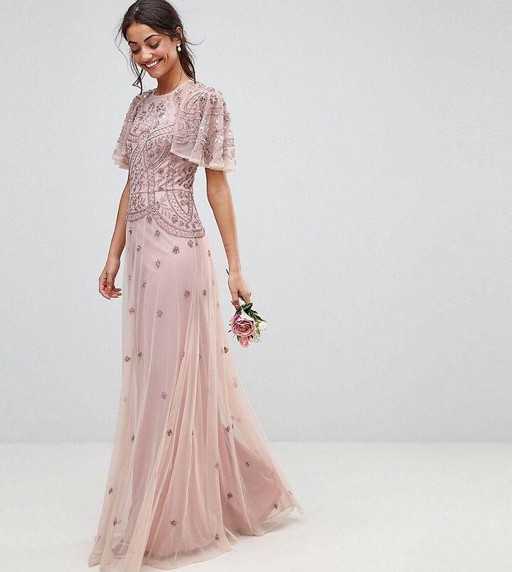 Asos Tall Wedding Iridescent Delicate Beaded Flutter Sleeve Maxi ...