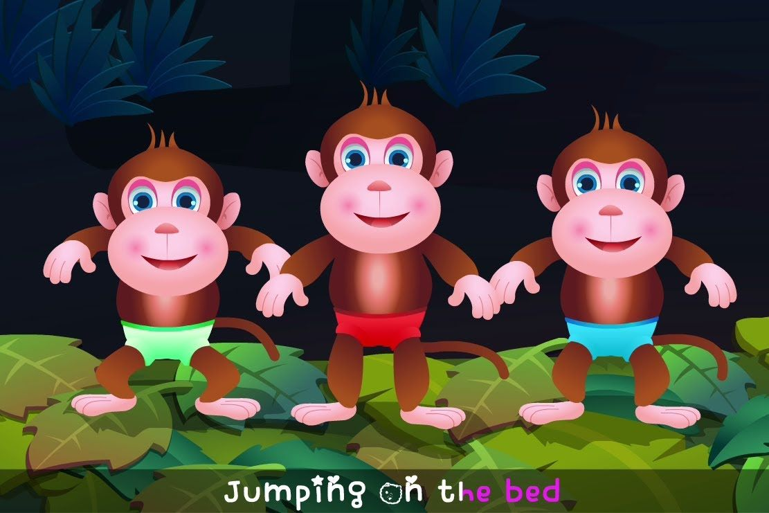 Five Little Monkeys Jumping On The Bed Nursery Rhyme Cartoon Animation Rhymes Songs For Children Five Little Monkeys Nursery Rhymes Kids Songs