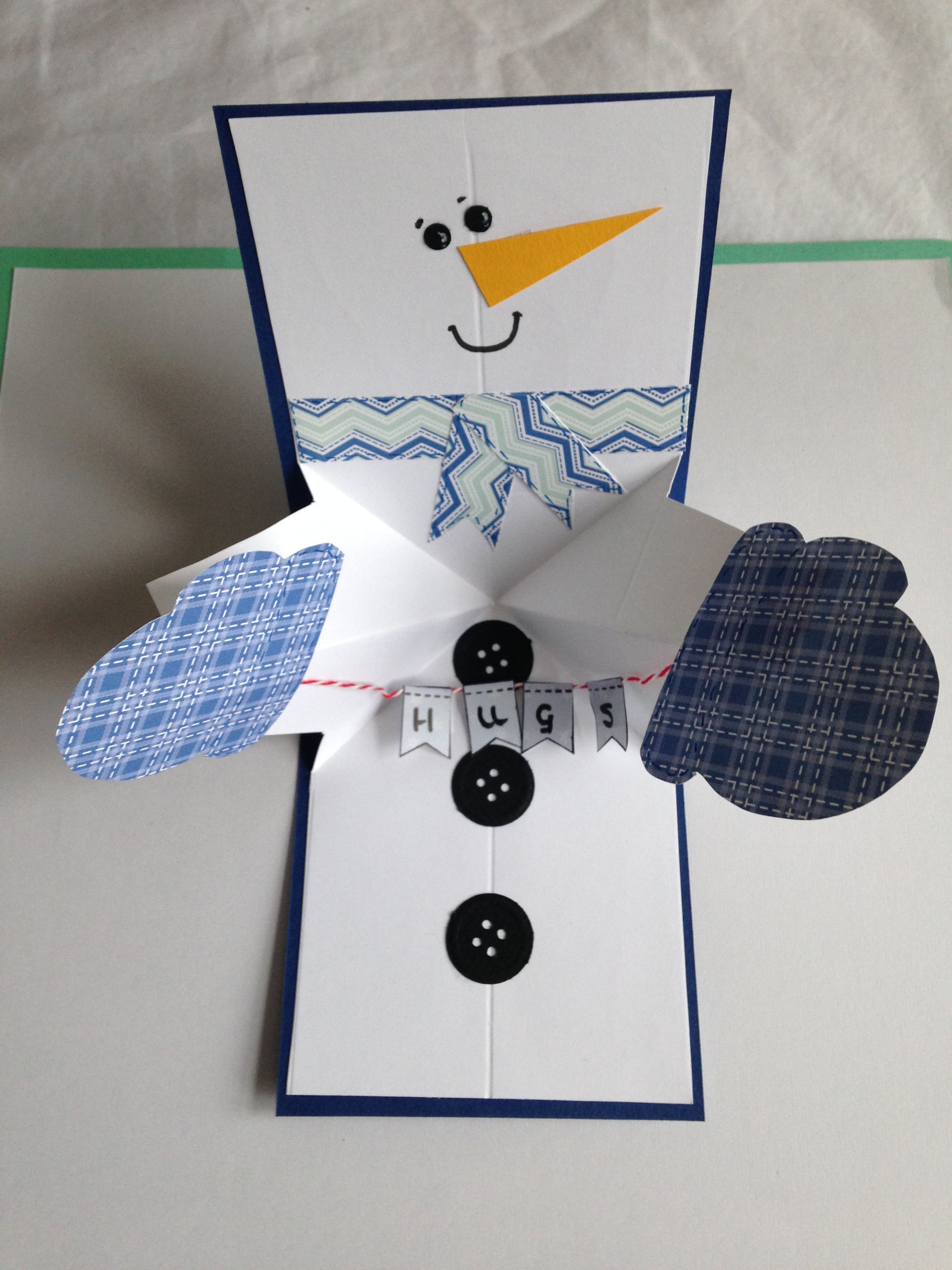 I Made This Super Cute Twist And Pop Up Snowman Card Following Maymaymadeit Tuition On Youtube Pop Up Christmas Cards Pop Out Cards Fun Fold Cards
