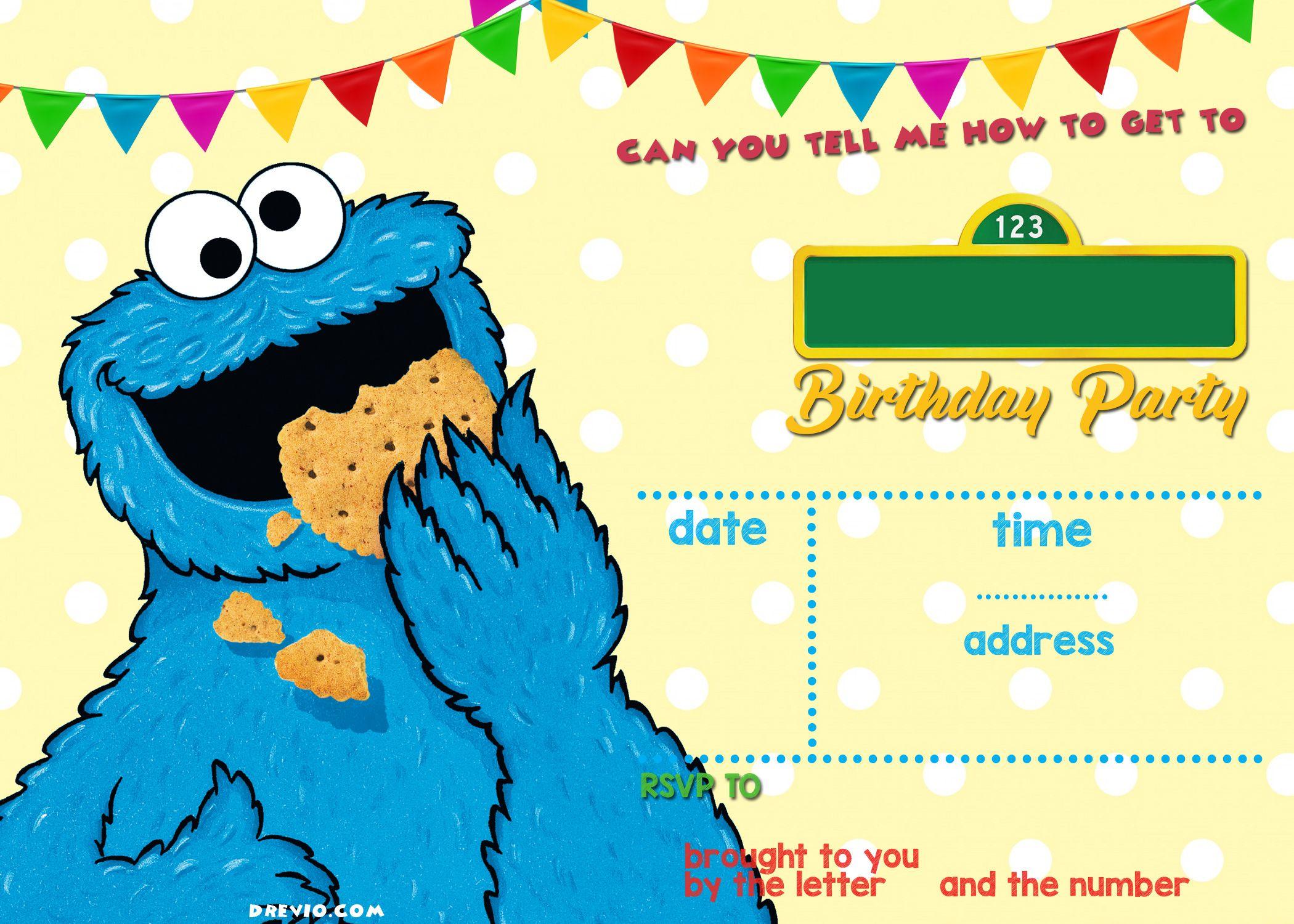 Elmo Sesame Street Birthday Party Invitations Monster