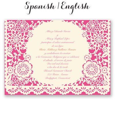 bandero festivo wedding invitation  mexican wedding invites at, invitation samples