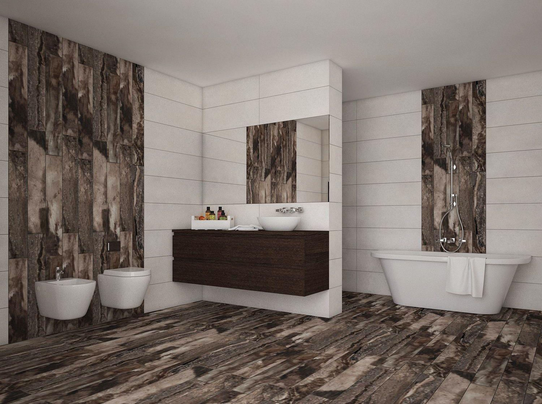 Modernus vonios interjeras su ak traukianiomis Rainforest Dark