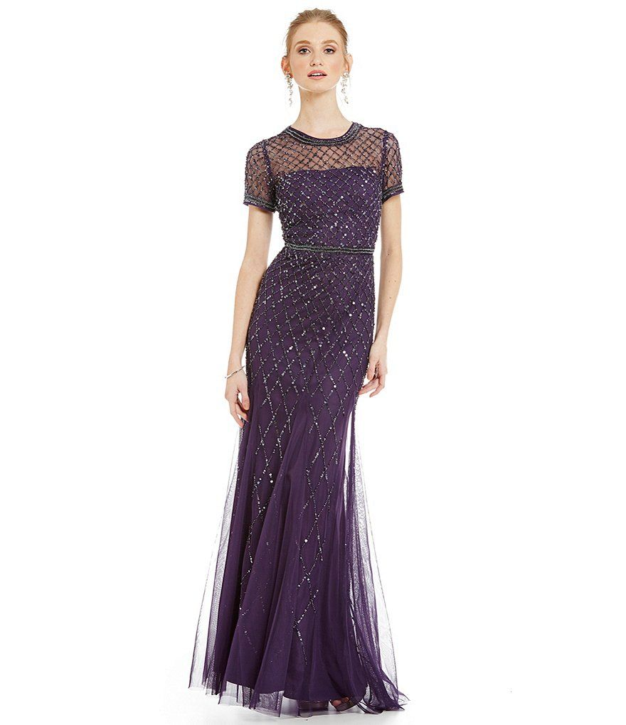 Adrianna Papell Beaded Short Sleeve Gown   Adrianna papell, Gowns ...