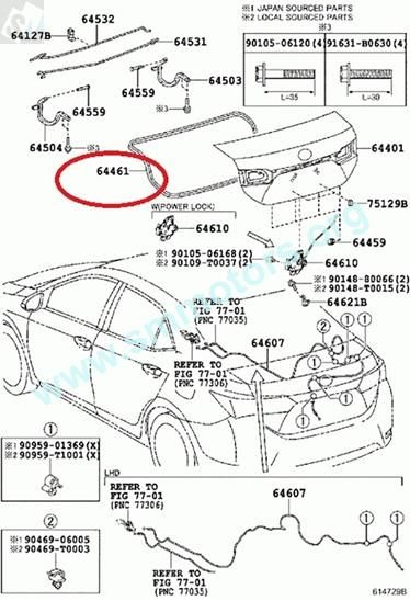 Toyota Corolla 2014 Genuine WEATHERSTRIP, LUGGAGE
