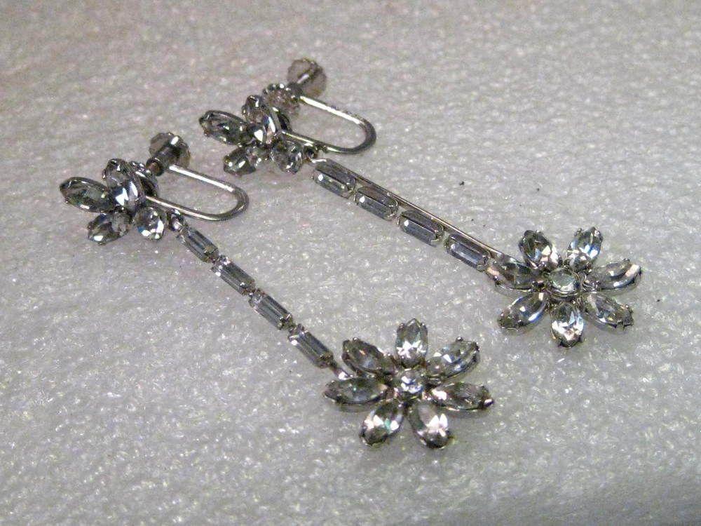 Vintage Silver Tone Rhinestone Retro Pierced Earrings