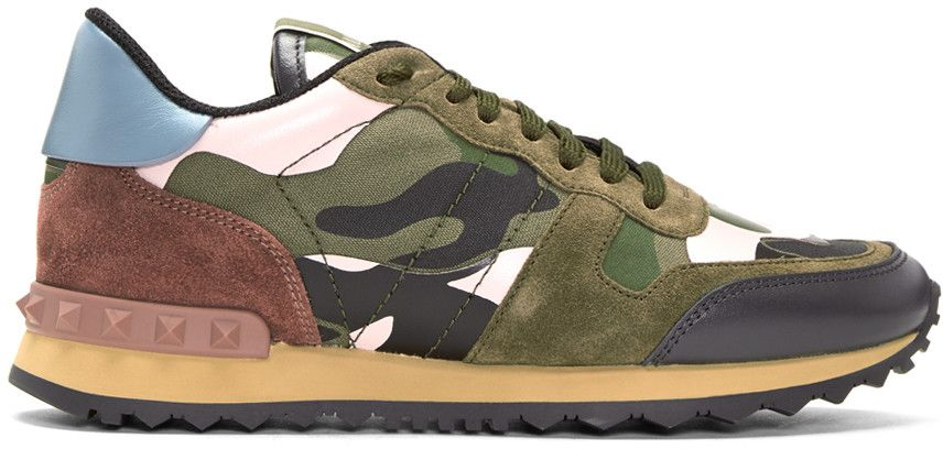 087f88827a99f #valentino #shoes #sneakers. Valentino - Green & Pink Camo Rockrunner  Sneakers Valentino Trainers ...