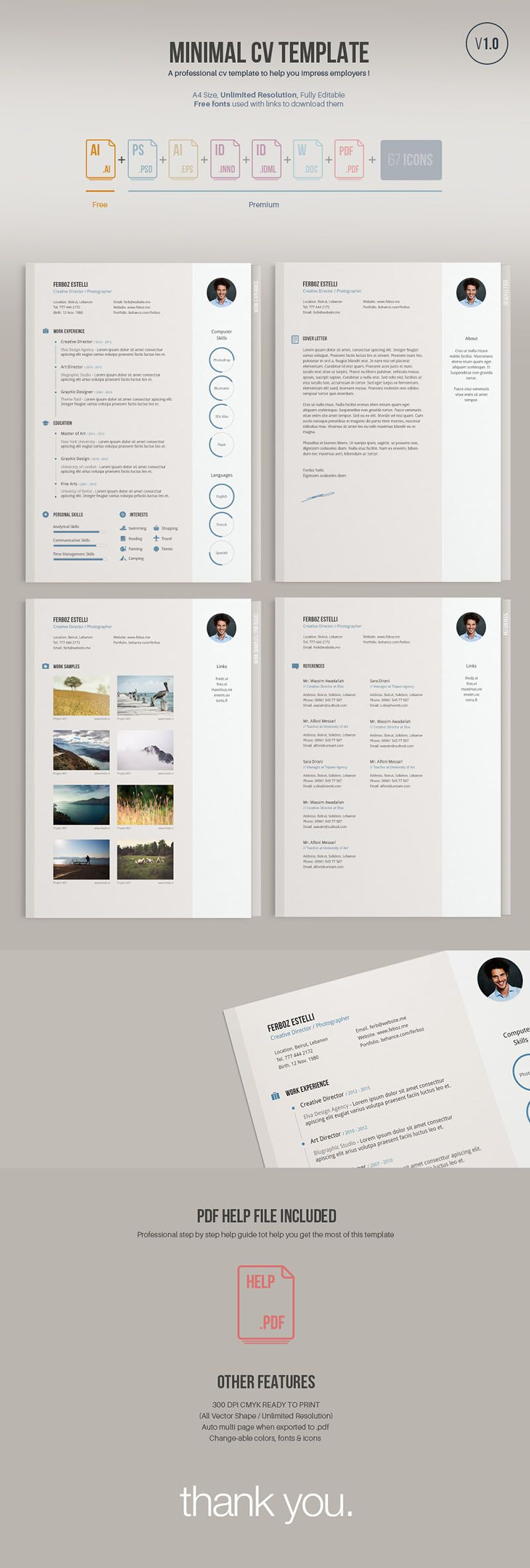 A minimal easy to edit free resume
