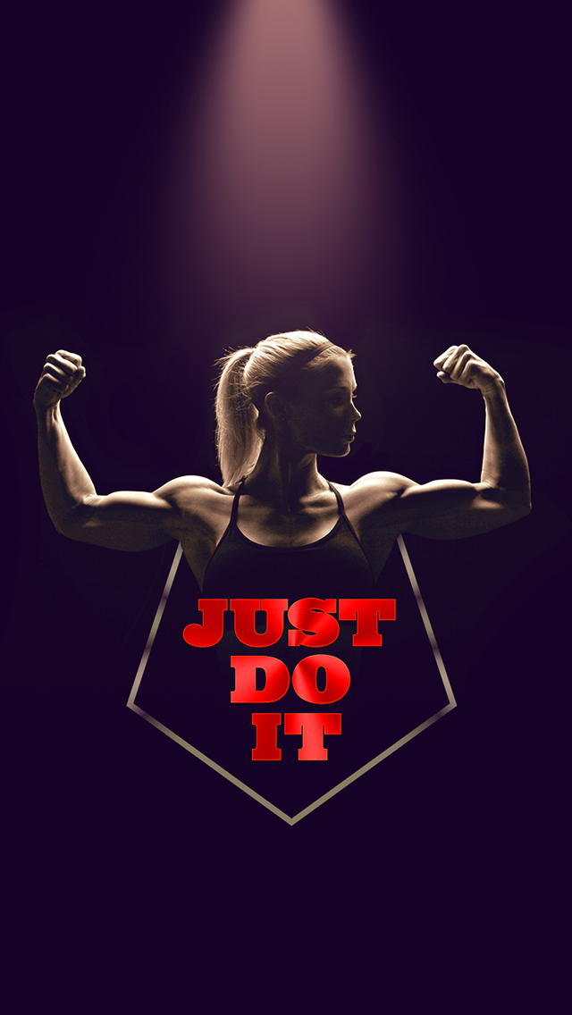 Art Creative Nike Quotes Just Do It Motivation Logo Red Black Girl Workout HD IPhone Wallpaper