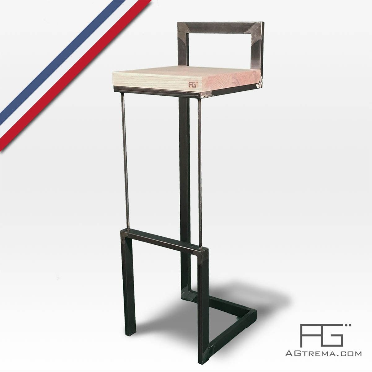 tabouret de bar buccula en acier brut et bois massif artisanat francais stools pinterest. Black Bedroom Furniture Sets. Home Design Ideas
