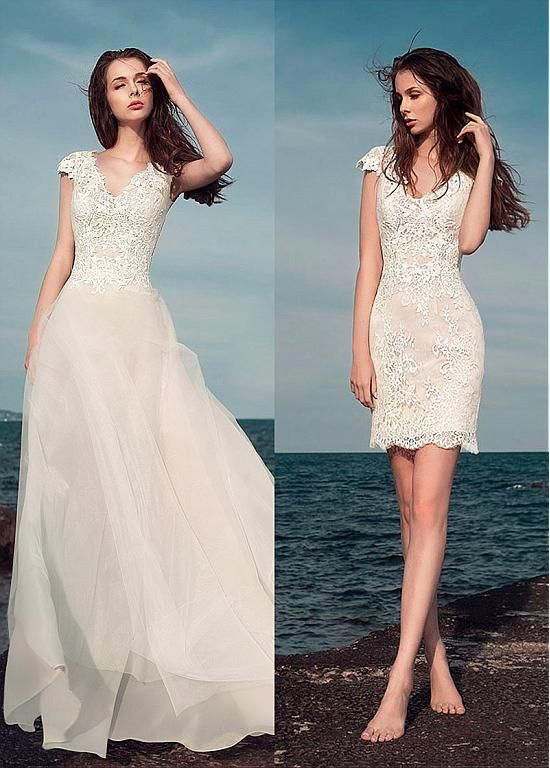Buy discount Marvelous Lace V-Neck 2 In 1 Wedding Dresses With Lace ...