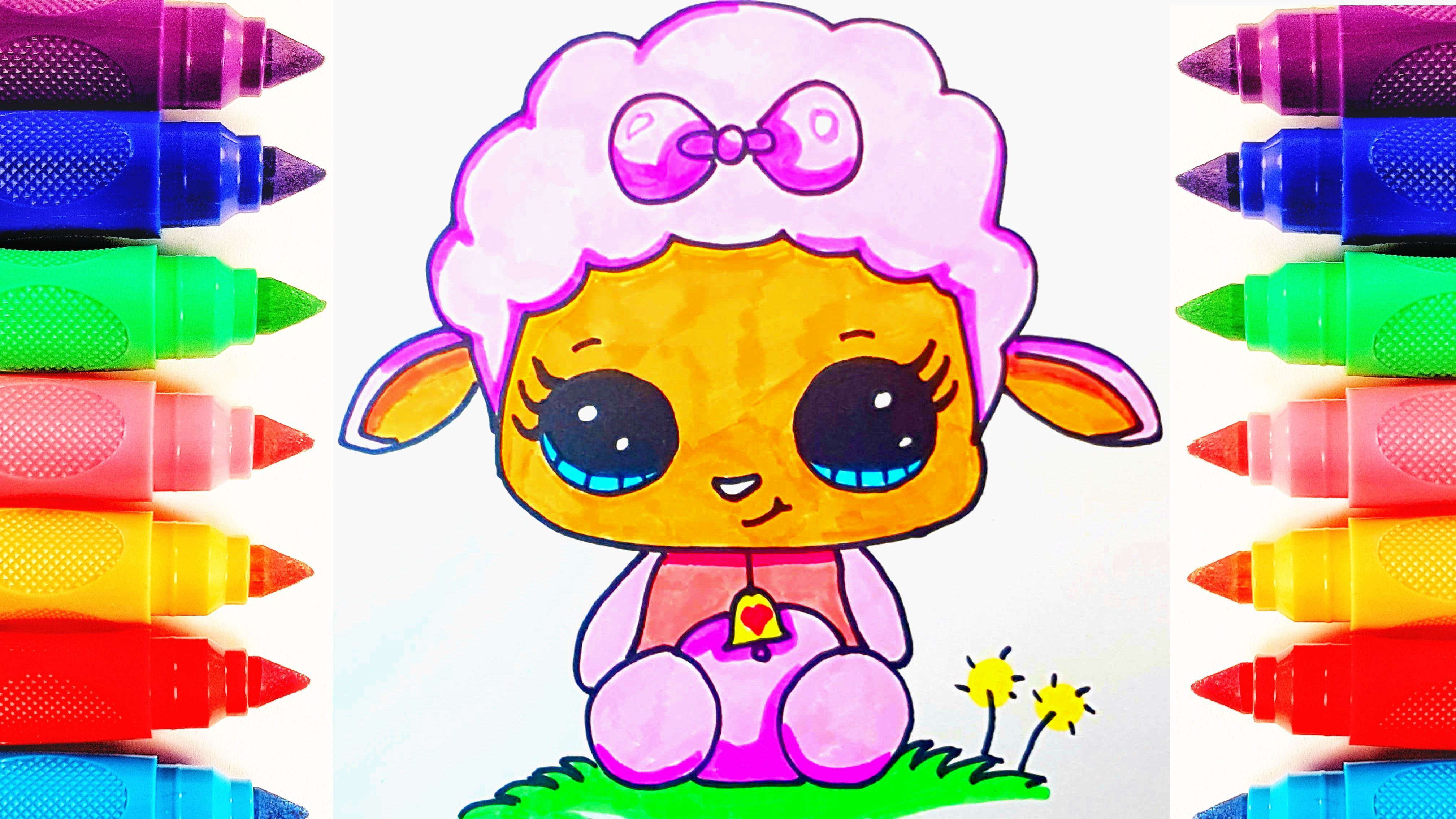 Aww This Is Cute Lamb How To Draw Cute Lamb For Kids Drawing And Coloring Pages Subscribe And Share Rainbow Wonderland Cartoon Lamb Cute Lamb Cute Drawings