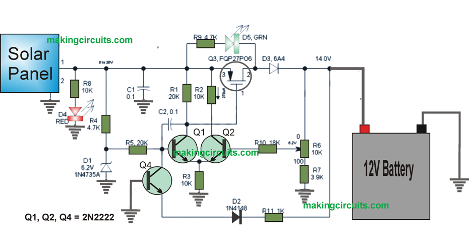 this low drop solar charger controller circuit using transistors can rh pinterest com