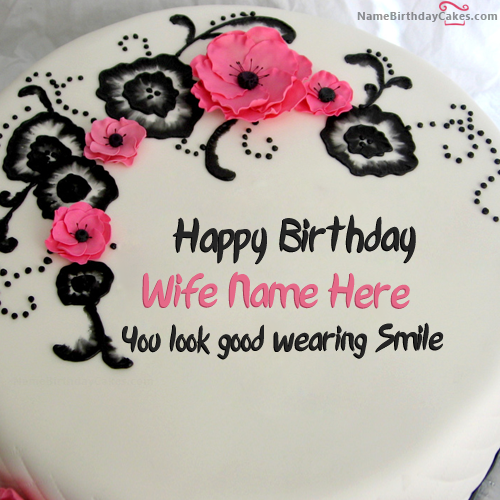 Birthday Cake With Name Wife ~ Write name on best flowers birthday cake for wife happy wishes cakes