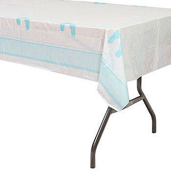 The Plaid Baby Boy Plastic Tablecover Features A Blue Plaid Border