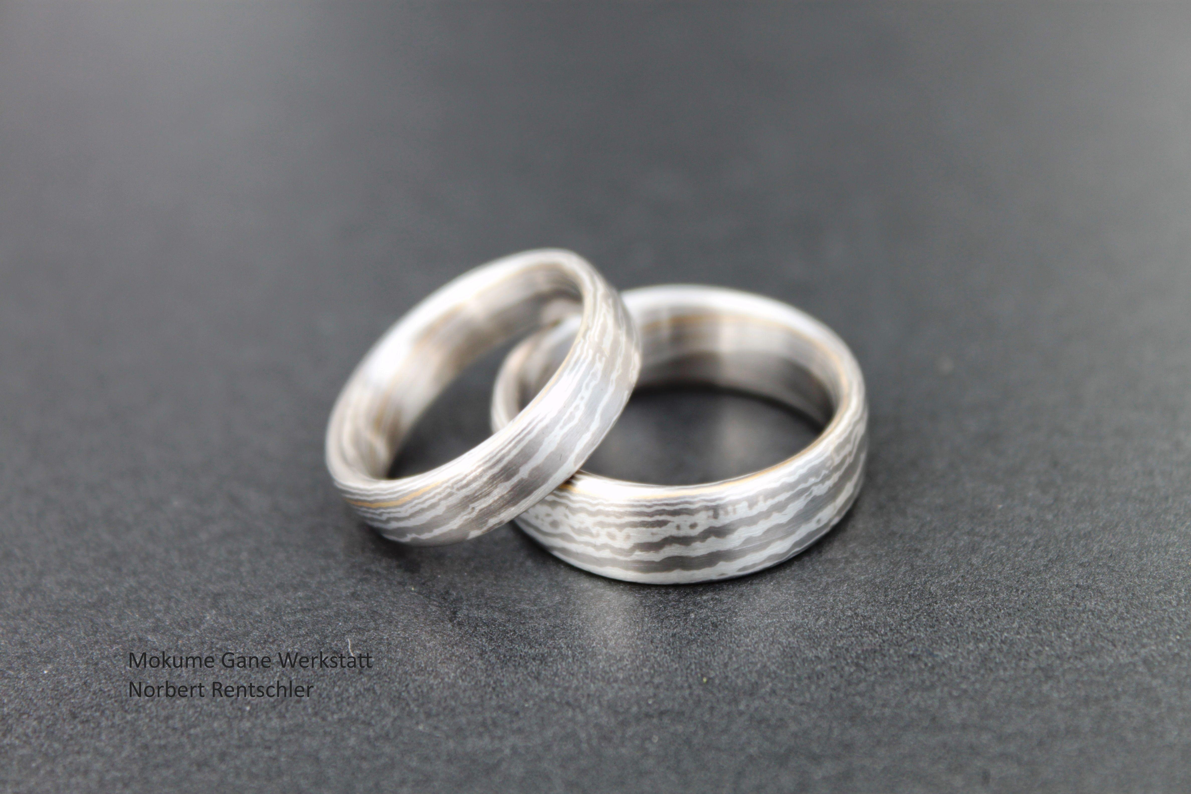 Mokume Gane Trauringe super schmal Silber Palladium 3 5 mm breit
