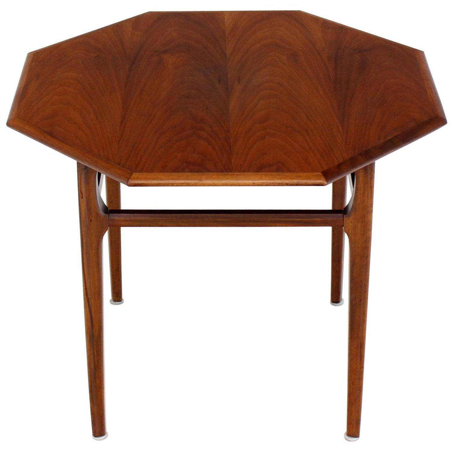 Oiled Walnut Octagon Shape Pedestal Side Table Stand