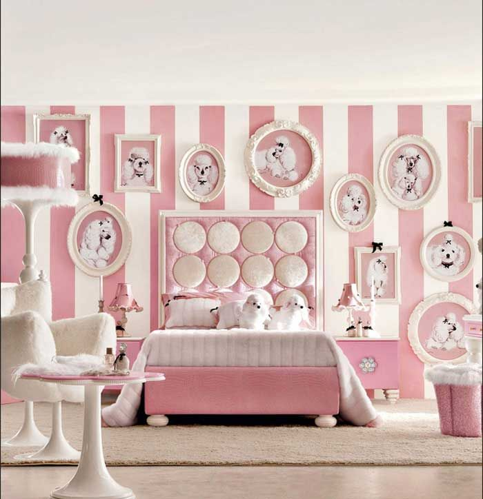 Wandgestaltung jugendzimmer mit streifenmuster weiß rosa Großes