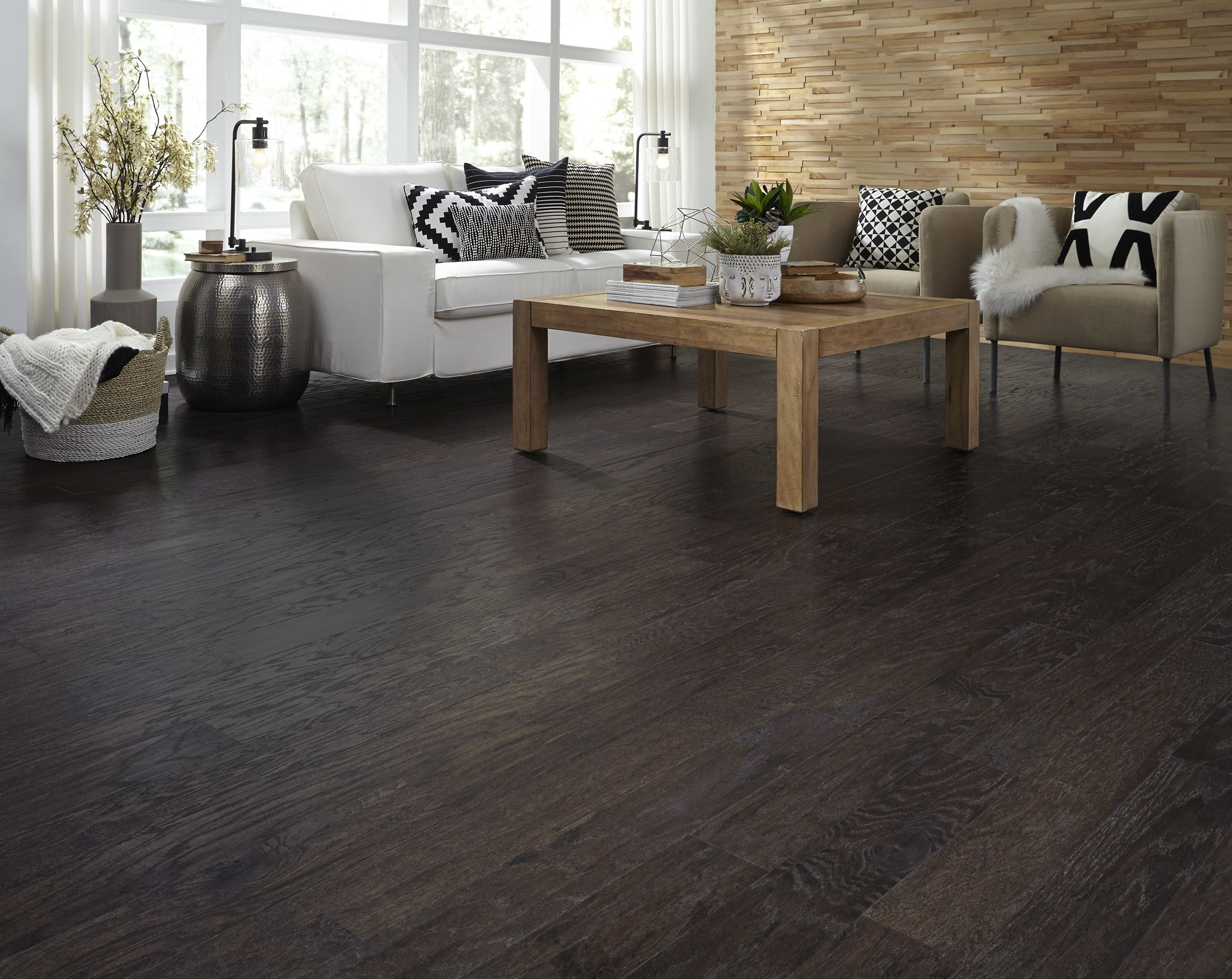 Add Stylish Character To Any Room With Espresso Oak A Distressed Hardwood Oak Wood Floors Living Room Oak Engineered Hardwood Distressed Hardwood