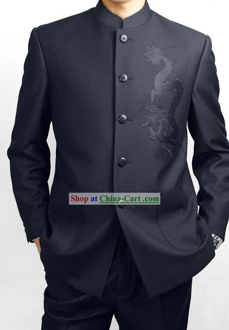 Formal Chinese Deep Blue Dragon Wedding Suit  250e5f5c17fe