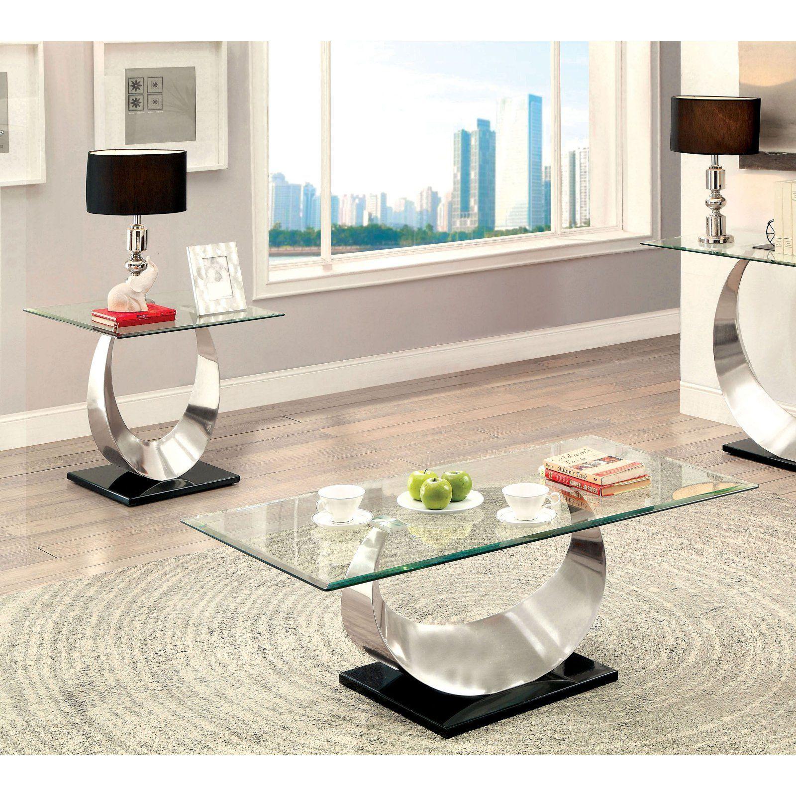 Furniture Of America Meryl U Shaped Base 2 Piece Coffee Table Set