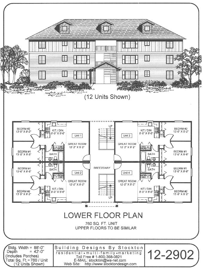 12 plex 43x88 apartment house plan ideas pinterest for Apartment building plans 6 units