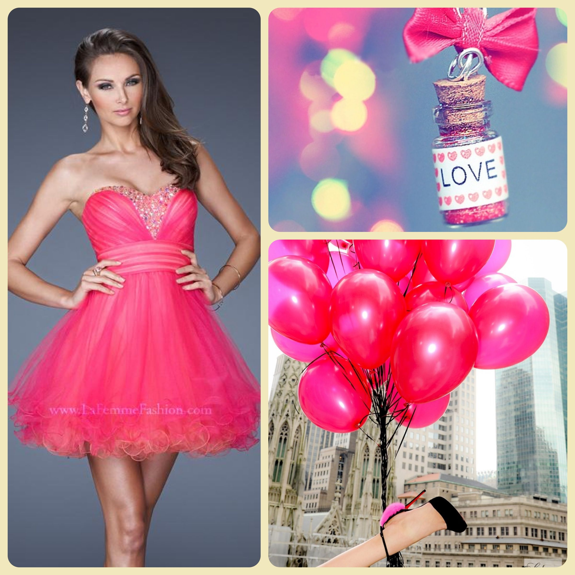 Cocktail dress pink black