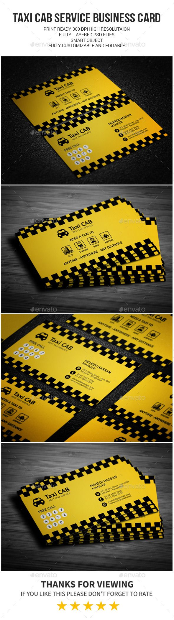 Taxi Cab Service Business Card | Business cards, Photography ...