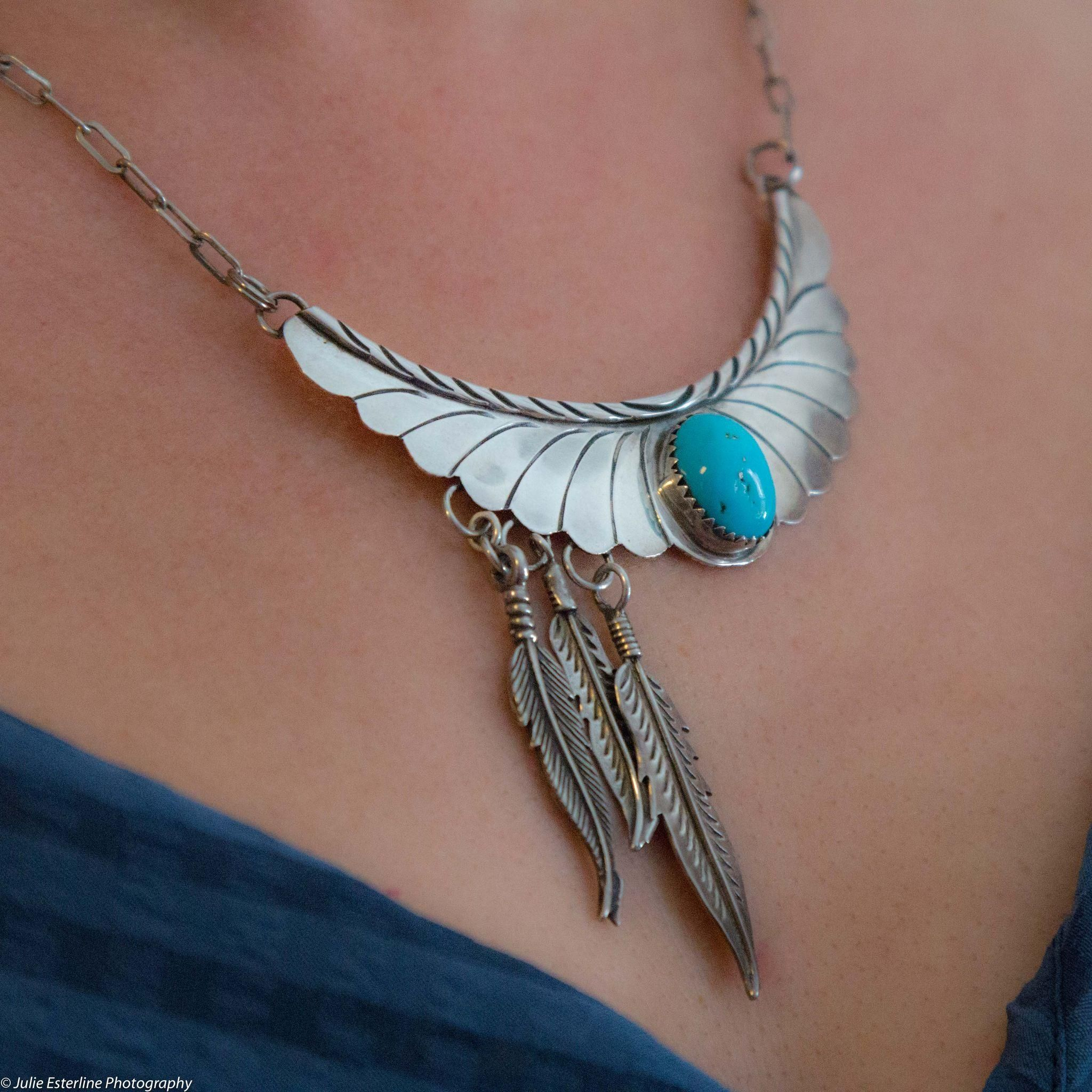 Signed Native American Navajo Made Sterling Silver Feather Pendant