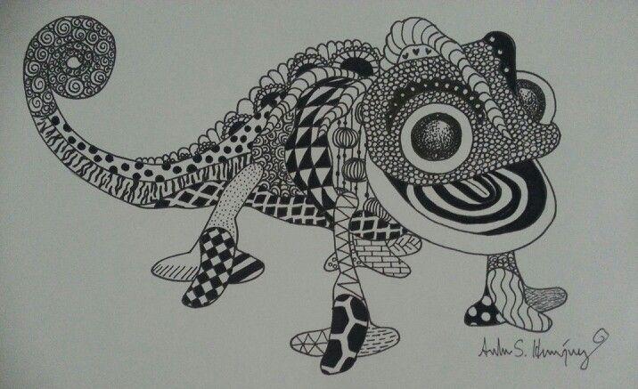 Mandalas Para Colorear Con Animales Y Zentangles: Disney's Pascal Zentangle By Andrea S. Henriquez