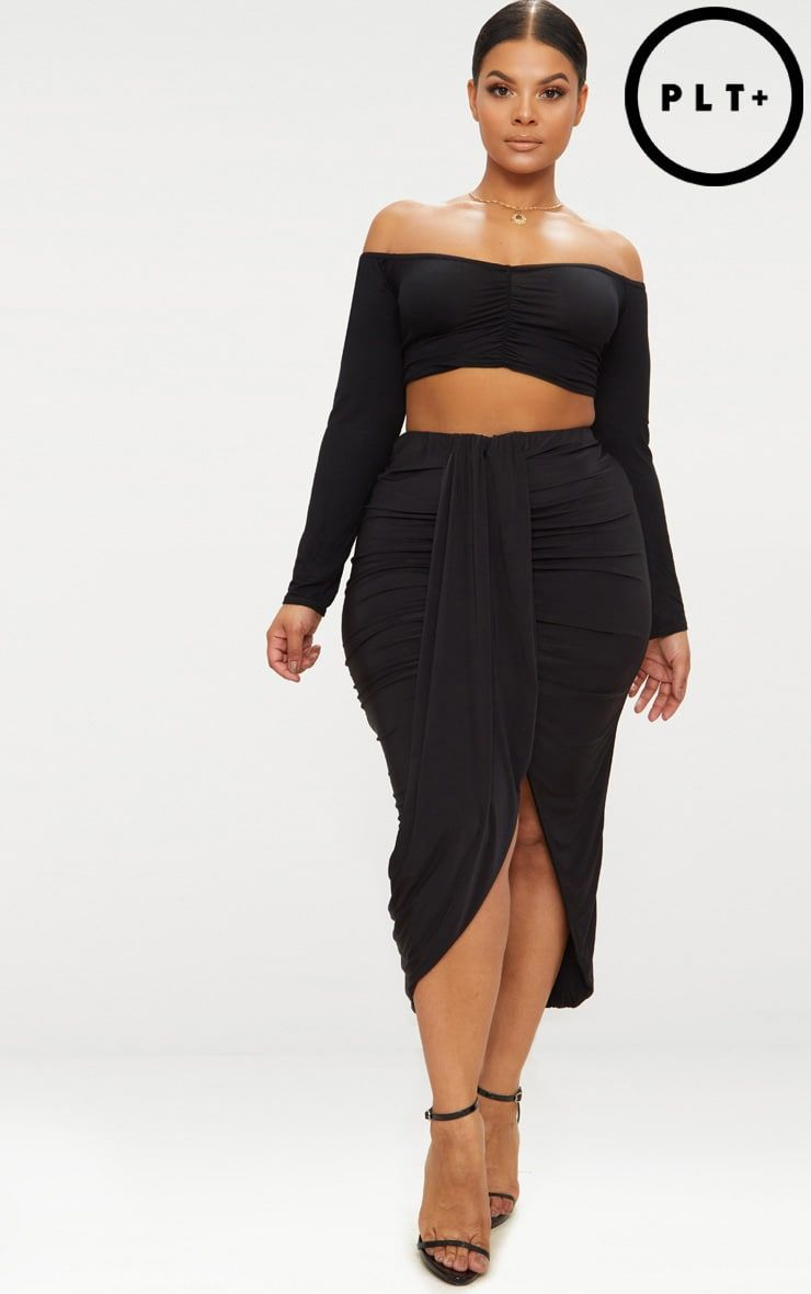 36da5de9e1 Plus Black Slinky Ruched Wrap Front Midi Skirt | Clothes | Midi ...