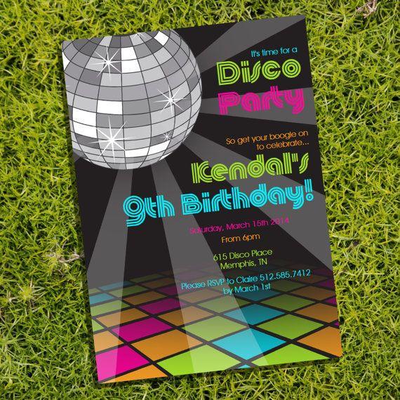 Purple Cocktail Disco Party Invitations – Disco Party Invitation Ideas