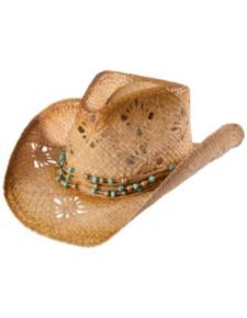 939b6d0b506 Tropical Trends by DPC Beaded Band Straw Cowgirl Hat