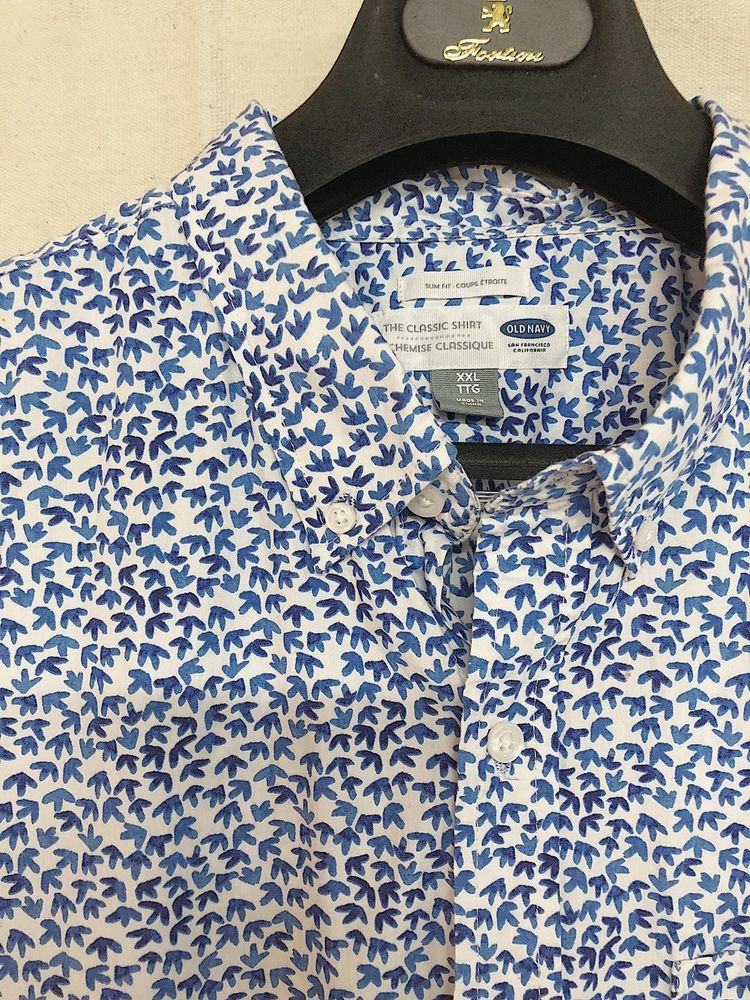52e2c9d1fa2 XXL Old Navy Mens Short Sleeve White Blue Patterned Button Down  fashion   clothing  shoes  accessories  mensclothing  shirts (ebay link)