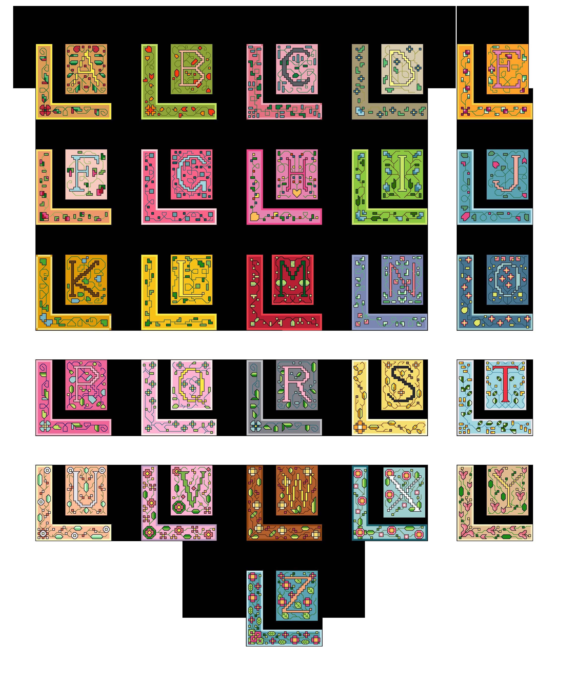 alfabeto maiuscolo con cornice doppia