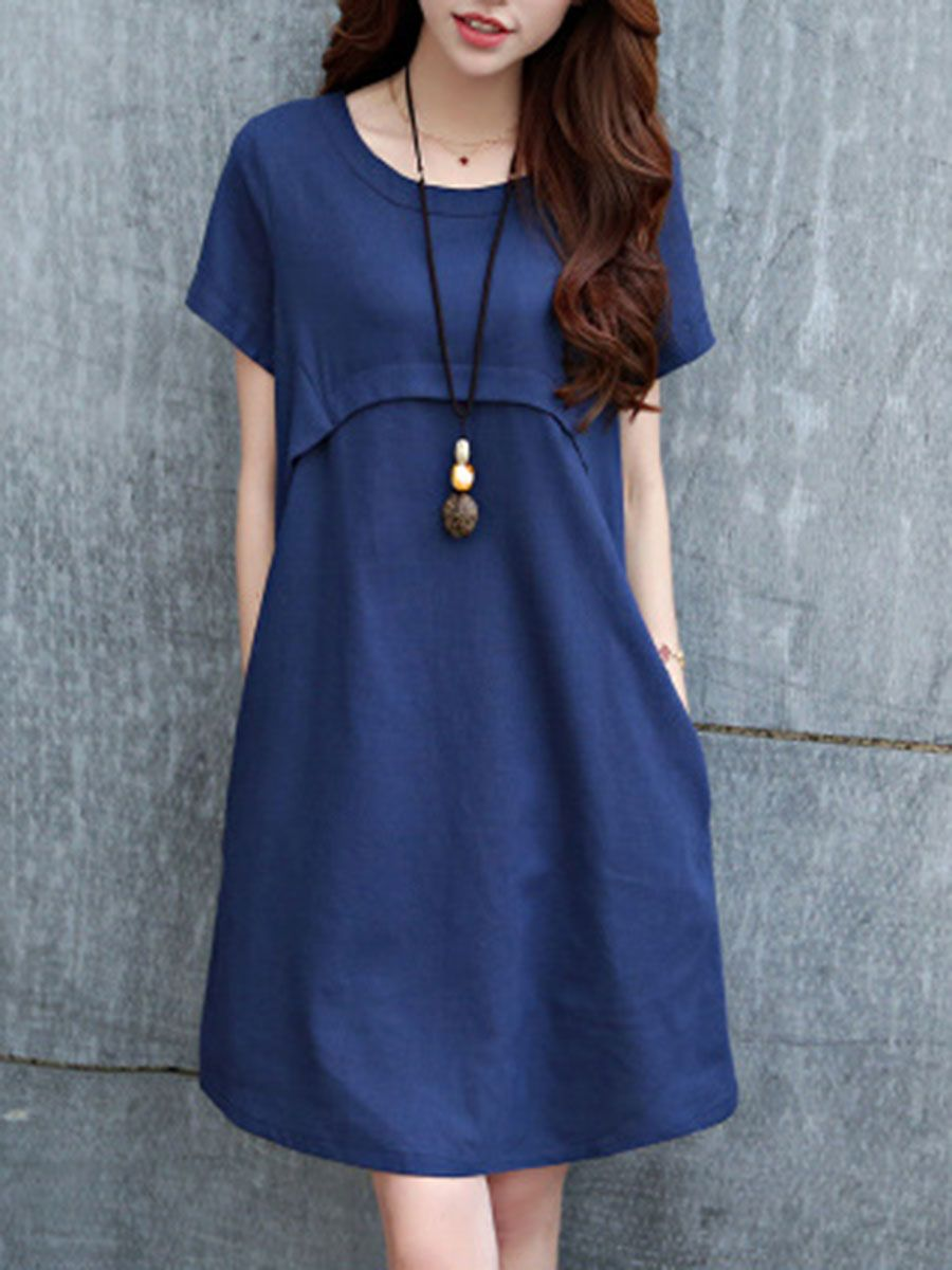 daaf293b0d1 Round Neck Plain Cotton Linen Shift Dress