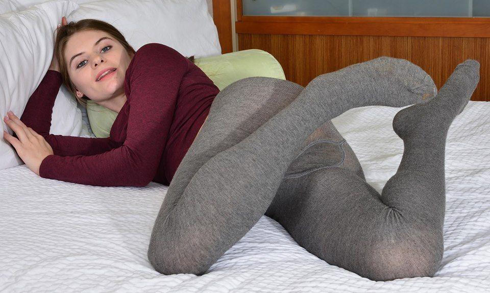 Wet white wool pantyhose