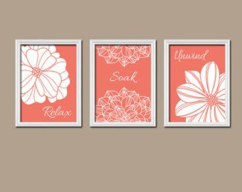 Coral Colored Wall Hangings With White Flowers With Images