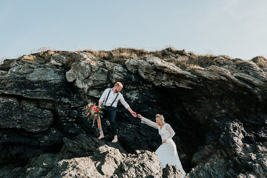 A Relaxed, Boho Beach Elopement in Anglesey, North Wales