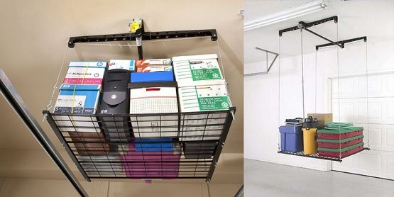 Attractive The Garage Overhead Storage Ideas Of Rack Cable Lifted Storage Type By