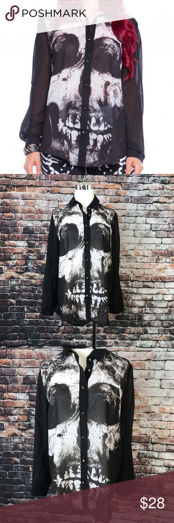Nwt Iron Fist Loose Tooth Button Down Sheer Blouse Nwt My Posh