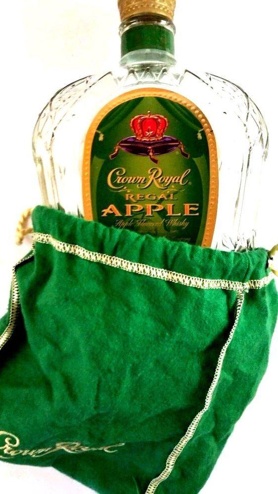 CROWN ROYAL REGAL APPLE GREEN DRAWSTRING BAG WITH GOLD TRIM