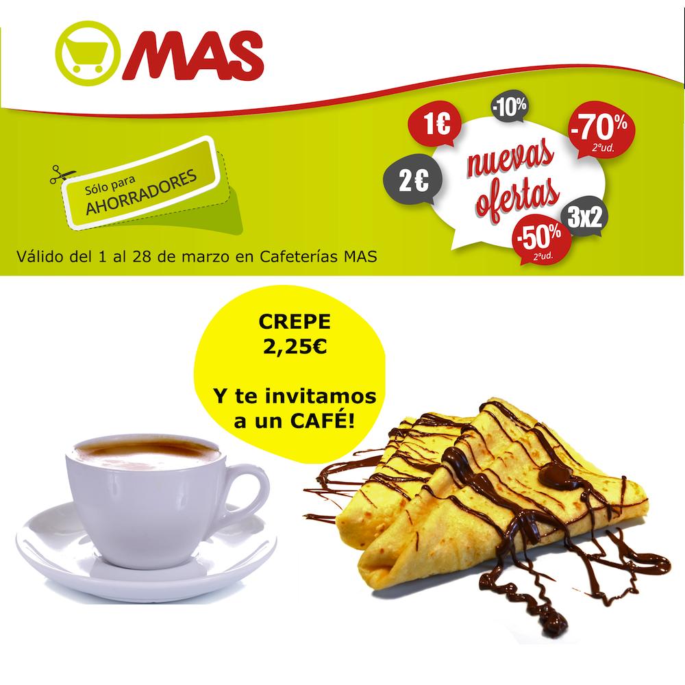 Llega desde la Cafetería MAS una gran #oferta: si te pides una crepe (2,25€), te invitamos a un café!! Celebra tus momentos de merienda