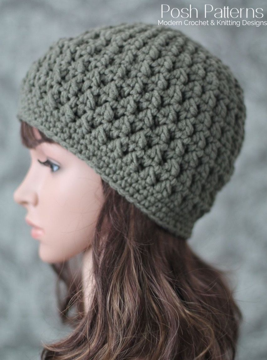 This crochet hat pattern makes an elegant, textured beanie that is ...