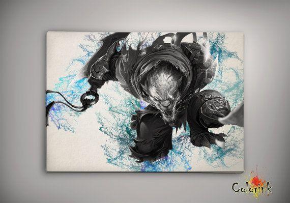 League of Legends Rengar Watercolor illustrations Art Print Wall Art ...