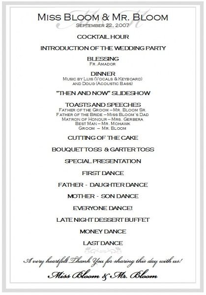 Wedding Reception Itinerary Wedding Reception Schedule B