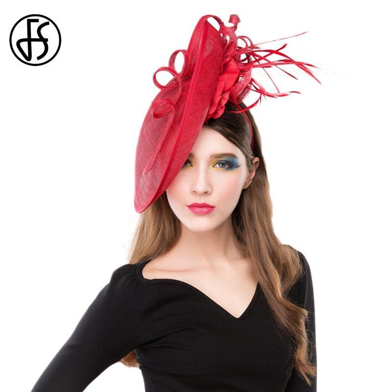 821bff98 FS Elegant Hats For Women Wedding And Fascinators Red Ladies Sinamay ...